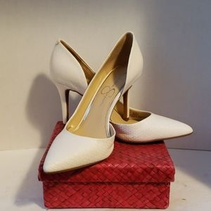 Jessica Simpson white heels shoes size 8